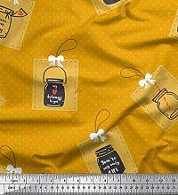 Soimoi Gold Baumwoll-Voile Stoff Punkt, Glas &