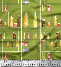 Soimoi Grun Baumwolle Ente Stoff Flasche und Glas