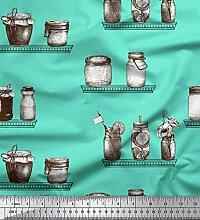 Soimoi Grun Samt Stoff Glas & Flasche Jahrgang