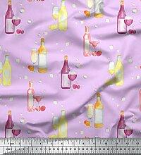 Soimoi Lila Kunstseide Stoff Flasche und Weinglas