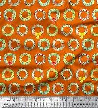 Soimoi Orange Baumwolljersey Stoff Kranz Blumen-