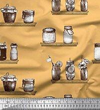 Soimoi Orange schwere Satin Stoff Glas & Flasche