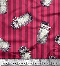 Soimoi Rosa Samt Stoff Streifen & Glas Kuche Stoff
