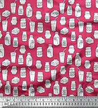 Soimoi Rosa strahlkrepp Stoff Glas & Flasche Kuche
