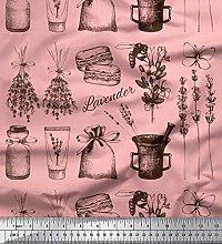 Soimoi Rosa strahlkrepp Stoff Lavendel, Glas &