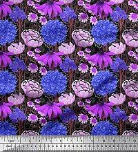 Soimoi Schwarz Kunstseide Stoff Dahlia, Echinacea