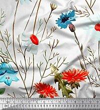 Soimoi Weiß Kreppseide Stoff Blätter, Aster &