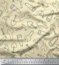 Soimoi Weiß Samt Stoff Säge und Hammer Werkzeuge