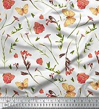 Soimoi Weiß schwere Leinwand Stoff Schmetterling