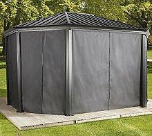 Sojag Aluminium Pavillon Komodo 12x18 Vorhänge Seitenteile Dunkelgrau/Passend für Gartenlaube Komodo