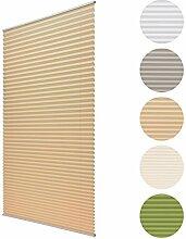 Sol Royal Plissee SolDecor P25 - 115x150 cm Beige / Creme - Klemm-Fix ohne Bohren - Plissee-Rollo Jalousie für Fenster