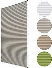 Sol Royal Plissee SolDecor P25 - 75x220 cm Grau - Klemm-Fix ohne Bohren - Plissee-Rollo Jalousie für Fenster & Türen