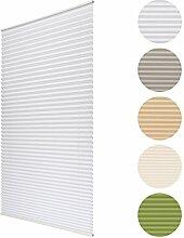 Sol Royal Plissee SolDecor P25 - 90x120 cm Weiß - Klemm-Fix ohne Bohren - Plissee-Rollo Jalousie für Fenster & Türen
