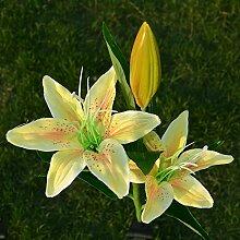 Solar Angetriebene künstliche Lilie / Blumen LED Leuchten / Licht Garten Landschaft Dekor Weihnachten/Party?Qualitätssicherung 100%? , Yellow