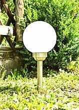 Solar Außenleuchte Erdspieß Garten-Kugel Globo 3376SS Edelstahl IP44