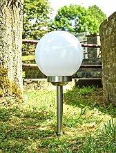 Solar Außenleuchte Erdspieß Garten-Kugel Globo 3377SS Edelstahl IP44