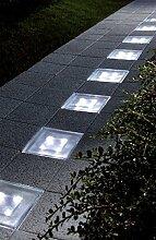 Solar-beleuchteter Pflasterstein aus Glas zur Wegbeleuchtung