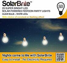 Solar Brite Lichterkette mit 20 bunten LED Solar Party Lichterkette Festoon Glühlampe-Weiß