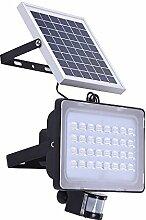 Solar Fluter, HimanJie 50W SMD Außenleuchte LED Solarleuchte mit Bewegungsmelder Wasserdicht Aluminiumkörper, IP65 Wasserdicht (50)