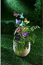 Solar Gartendeko farbige LED Acryl Schmetterlinge Garten Deko Leuchte bunt NEU