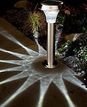 Solar Gartenleuchte Solarlampen Balkon Terrasse Solarleuchte Garten Edelstahl Glas XL mit Effekt Designer LED Solar Lampe 45 cm - Solar LED Lampe Designer Leuchte 45 cm hoch 18 cm Durchmesser