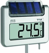 Solar Gartenthermometer digital Aluminium wetterbeständig ca. 117 cm