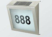 Solar Hausnummer mit LED Beleuchtung aus Edelstahl