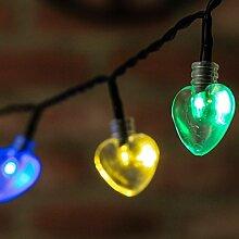 Solar-Herz-Lichterkette, gemischte Farbe, 50LEDs, 5m, für den Garten geeigne