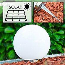 Solar Kugelleuchte Nassau 20 cm aus weißem Kunststoff, LED Aussenleuchte für Garten, Terrasse, Veranda, an der Unterseite befindet sich ein Ein- und Ausschalter Solarlampe mit und integriertem Dämmerungsschalter