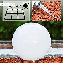 Solar Kugelleuchte Nassau 25 cm aus weißem Kunststoff, LED Aussenleuchte für Garten, Terrasse, Veranda, an der Unterseite befindet sich ein Ein- und Ausschalter Solarlampe mit integriertem Dämmerungsschalter