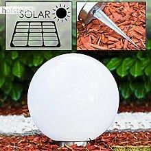 Solar Kugelleuchte Nassau 30 cm aus weißem Kunststoff, LED Aussenleuchte für Garten, Terrasse, Veranda, an der Unterseite befindet sich ein Ein- und Ausschalter Solarlampe mit integriertem Dämmerungsschalter