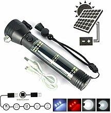 Solar Lampe Camping, TechCode Solar Power Taschenlampe & USB Akku für Reisen, Camping & Notfälle