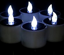 Solar LED Kerzen 6 Stück, Solar Teelicht Außen,
