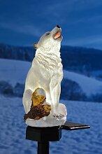 Solar LED Leuchte Polarwolf Gartendeko