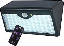 Solar Leuchte LEDemain 60 LED Solarlicht Gartenlicht Solarlampen Bewegungsmelder mit Fernbedienung Kontroller solarbetriebene Sicherheitsleuchte Außenwandleuchte Außenleuchte 5200mAh IP65 wasserdicht automatisch ein/aus geeignet für Hof Garten Außen Außenwand