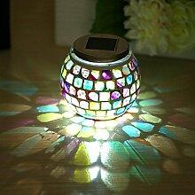 Solar Licht Glas Edelstahl Solar Licht Glas Kupfer Finish Deckel Solar Lichter Outdoor Stimmungslampe Lights Festive Farbe Licht(IP65)