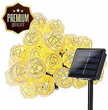 Solar Lichterkette Aussen Rattan, DINOWIN 20ft 30