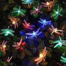 Solar Lichterkette LED,Solarleuchten Garten 4.8m 30 LED Weihnachtsdeko Libelle Lichterkette Außen , Solar Beleuchtung für Party,Weihnachten,Fenster,Outdoor,Hof,Feier Festakt (Libelle Mehrfarbig)