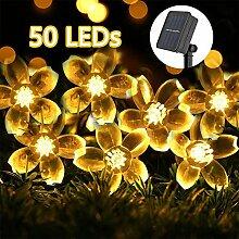 Solar-Lichterkette mit Blumen, 6 m, 8 Modi, 50