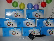 Solar - Lichterkette mit bunten Lampions, 10 flammig