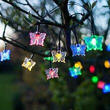 Solar Lichterkette Schmetterling, 30 bunte LEDs