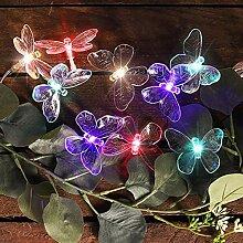 Solar Lichterkette Schmetterling bunt farbig mit