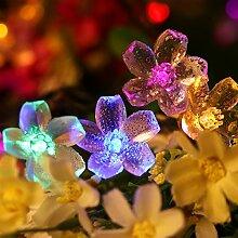 Solar Lichterkette, YUNLIGHTS 8M 50LEDs Wwasserfeste Solar Blumen Lichterkette mit 8 Moden, Solar betriebene Outdoor multi-Farblichter für Weihnachts- oder Partydekorationen