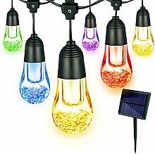 Solar Lichterkette,YWTESCH Led Lichterkette mit Led Kugel 5.3m 12LEDs Wasserdicht Beleuchtung mit Lichtsensor für Außen Garten, Terrasse, Weihnachtsbaum ,Partys usw (Warmweiß, Bunt)