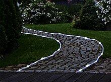 Solar Lichterschlauch mit 50 LEDs Kaltweiß Lichterkette 7 Meter Garten Beleuchtung