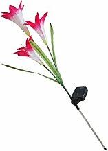 Solar Lilie 3 LED Licht Lampe Garten Terrasse Landschaft - Rosa