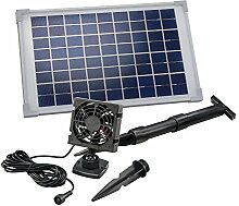 Solar Lüfterset 10W Luftstrom max. 90m3 Lüfter 92x92mm Solarventilator Belüftungsset Ventilator 101029
