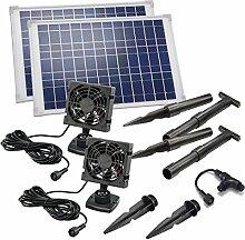 Solar Lüfterset 20W DUO Luftstrom max. 180m3 2 x Lüfter 92x92mm Solarventilator Belüftungsset Ventilator 101030