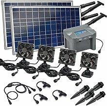 Solar Lüfterset 50W Quattro mit Akkuspeicher Luftstrom max. 360 m3 4 x Lüfter 92x92mm Solarventilator Belüftungsset Ventilator 101033