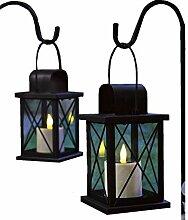 Solar Metall Laterne 2er Set LED Kerze